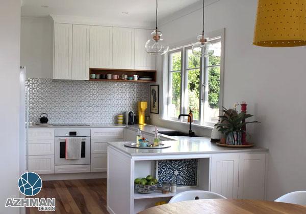 آشپزخانه مدرن طوسی سفید